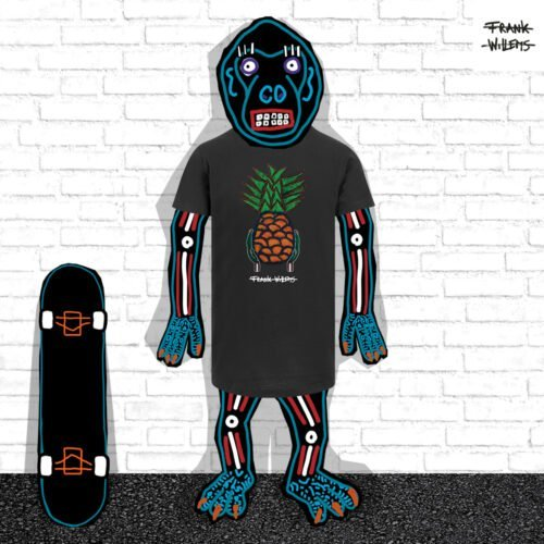 EL MONO MODEL - tshirt YUMMY PINEAPPLE blk - Frank Willems