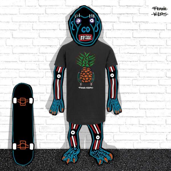 EL MONO MODEL - tshirt YUMMY PINEAPPLE blk - Frank Willems