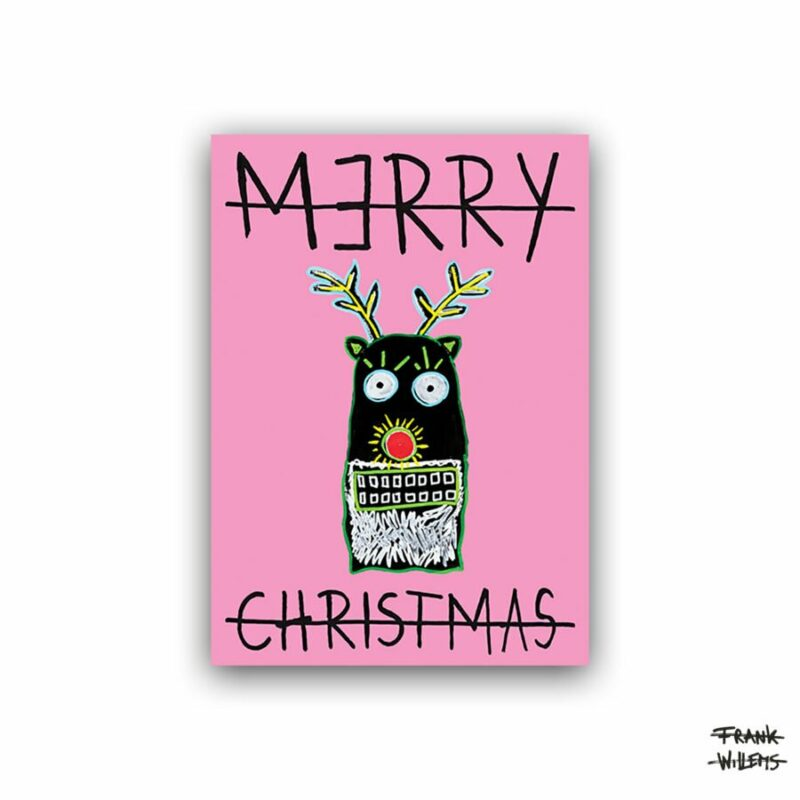 CHRISTMAS CARD /// RUDOLPH /// PINK