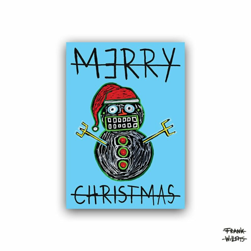 CHRISTMAS CARD /// SNOWMAN /// BLUE