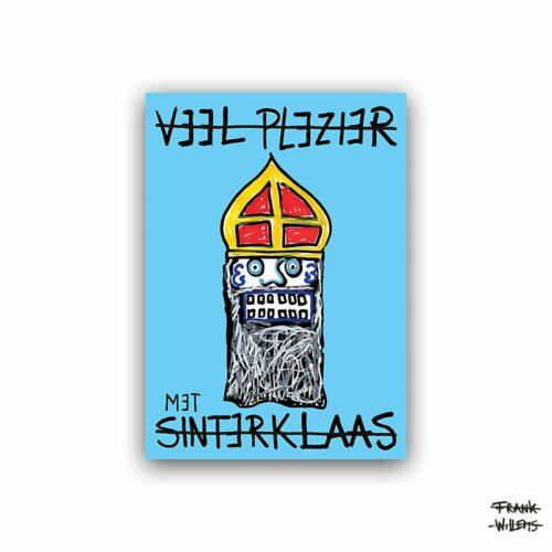 Sinterkaart - VEEL PLEZIER MET SINTERKLAAS - blue - Frank Willems