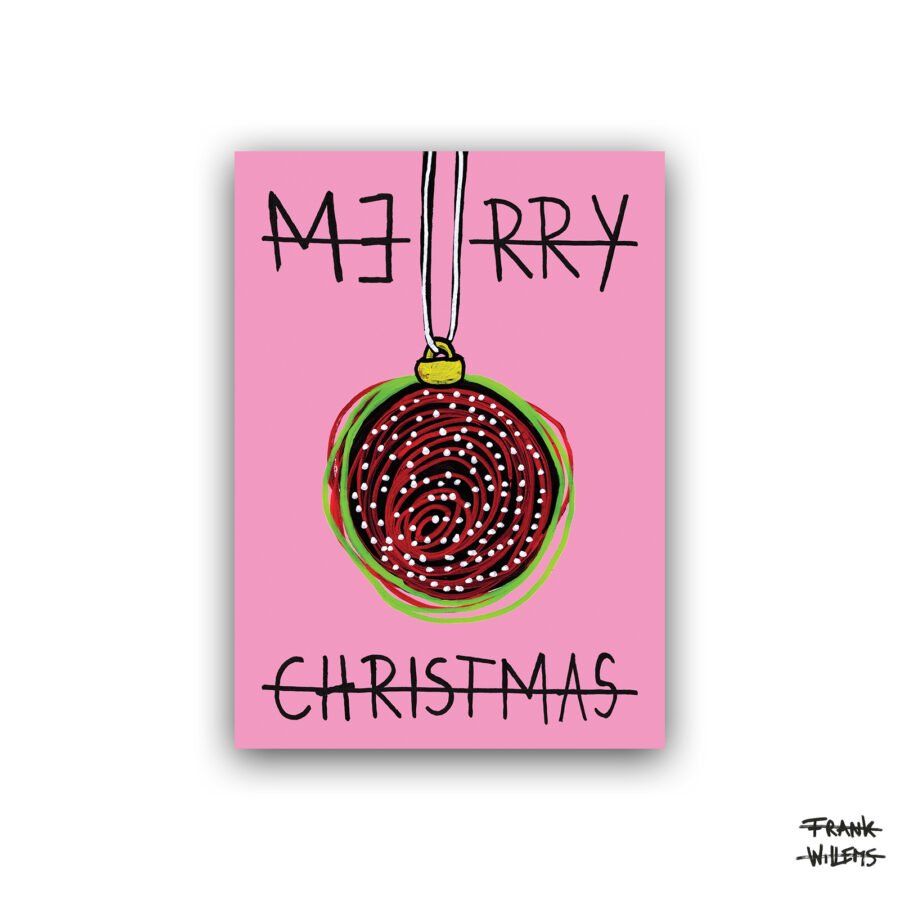 Kerstkaart - BAUBLE - pink - Frank Willems