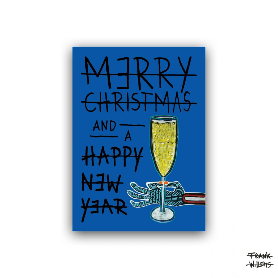 Kerstkaart - CHEERS - navy - Frank Willems