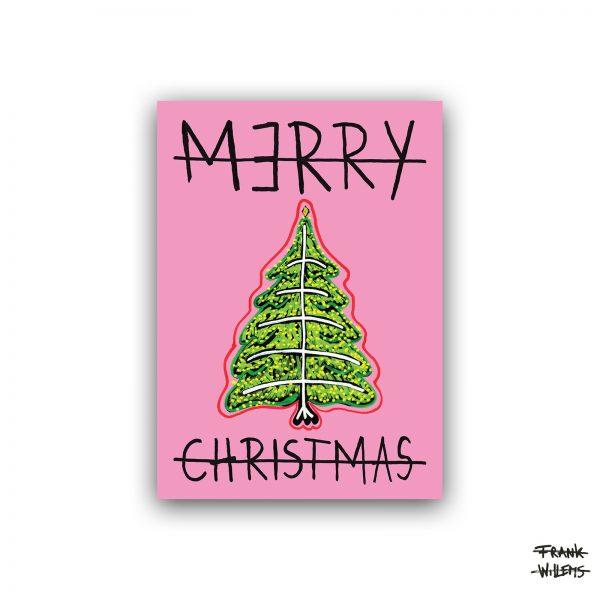 Kerstkaart - CHRISTMAS TREE - pink - Frank Willems