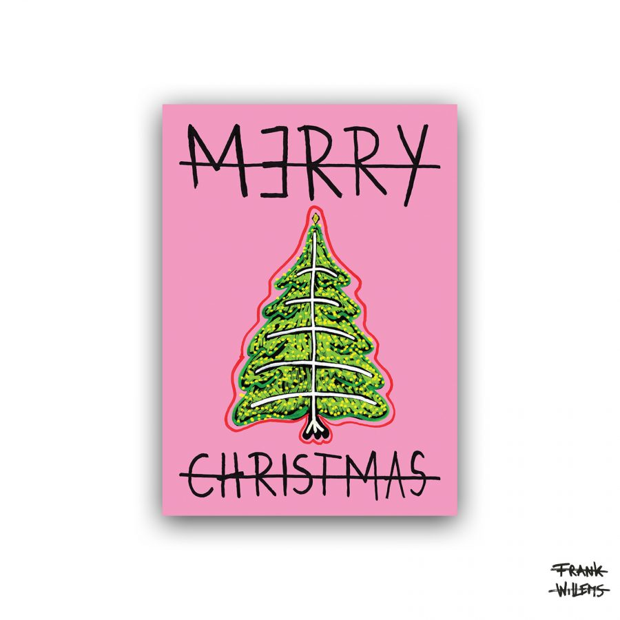 Kerstkaart - CHRISTMAS TREE - pink - Frank Willems