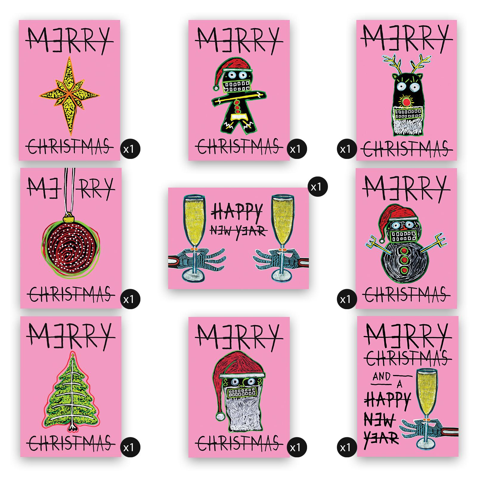 Kerstkaart - Pakket 9 stuks - pink edition - Frank Willems