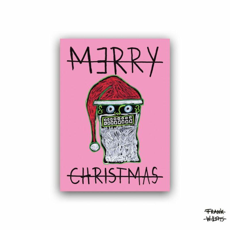 CHRISTMAS CARD /// SANTA CLAUS /// PINK