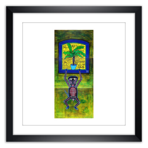 Limited prints - ACT LIKE A MONKEY AND GO BANANAS - 04 MONKEY AT BANANATREE framed - Frank Willems