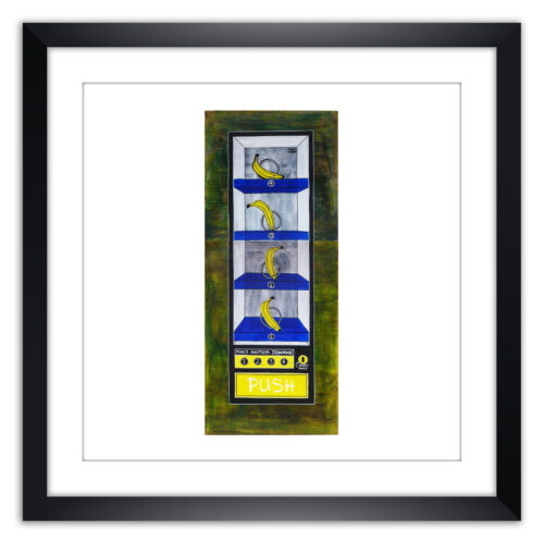 Limited prints - ACT LIKE A MONKEY AND GO BANANAS - BANANA VENDING MACHINE framed - Frank Willems