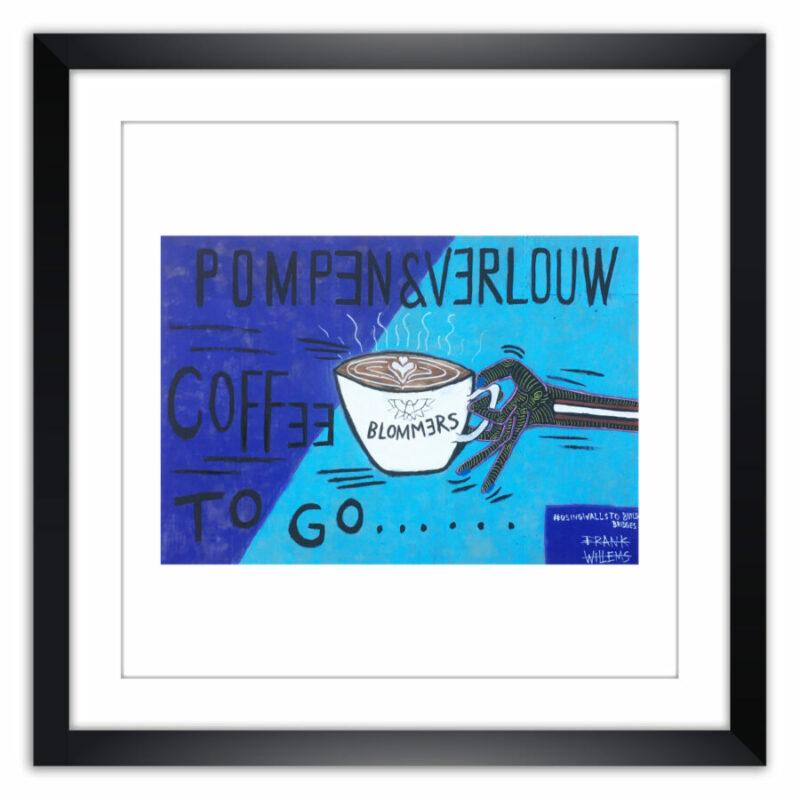 Limited prints - COFFEE TO GO - #USINGWALLSTOBUILDBRIDGES framed - Frank Willems