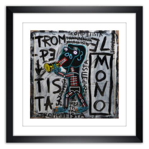 Limited prints - EL MONO TROMPETISTA framed - Frank Willems