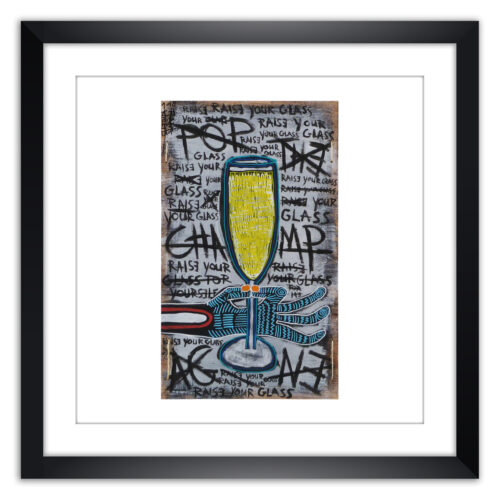 Limited prints - POP THE CHAMPAGE framed - Frank Willems
