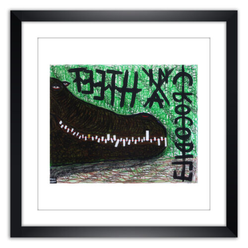 Limited prints - TEETH IN A CROCODILE framed - Frank Willems