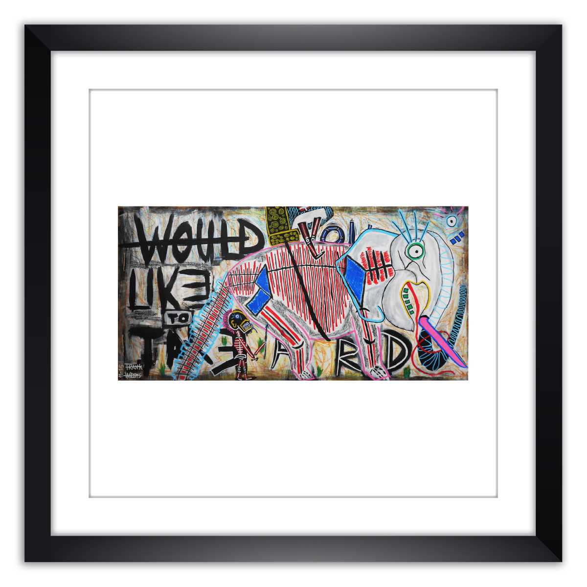 Limited prints - WOULD YOU LIKE TO TAKE A RIDE framed - Frank Willems