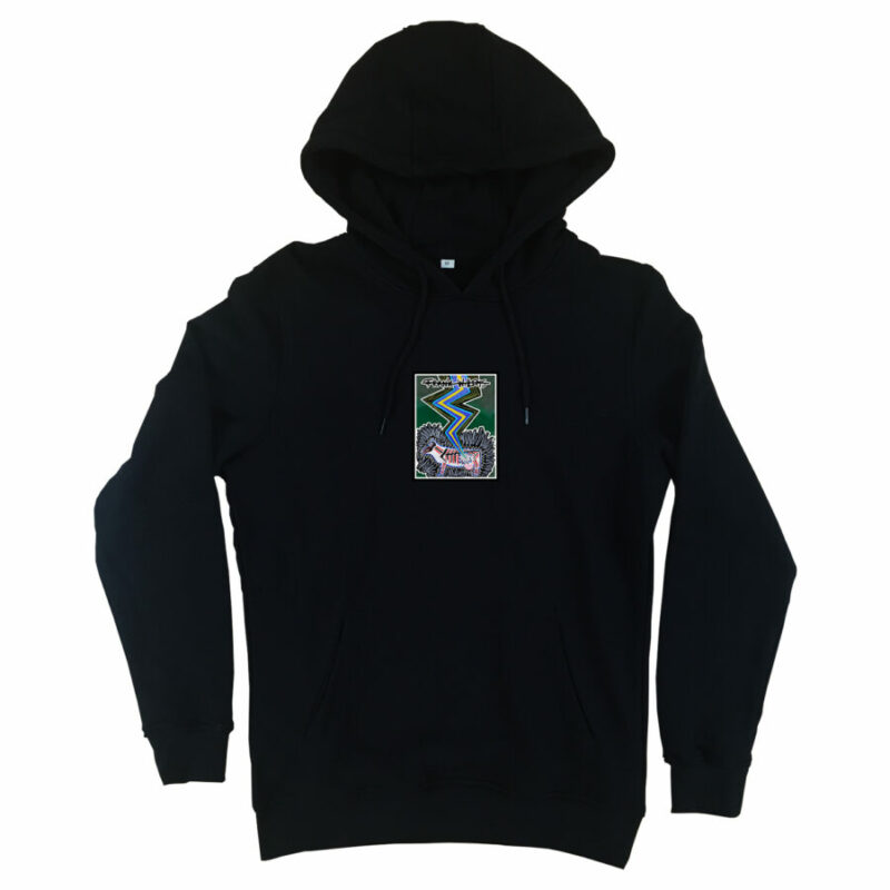 HOODIE - SILVER COLORED COW - BLACK